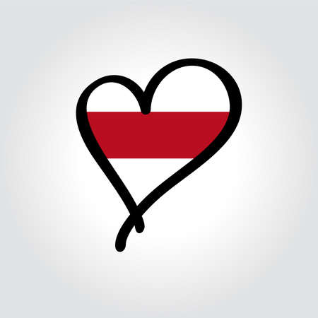 Belarusian flag heart-shaped hand drawn . Vector illustration.  イラスト・ベクター素材