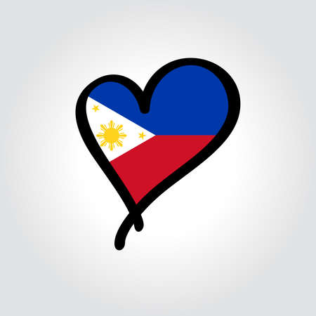 Philippines flag heart-shaped hand drawn . Vector illustration.