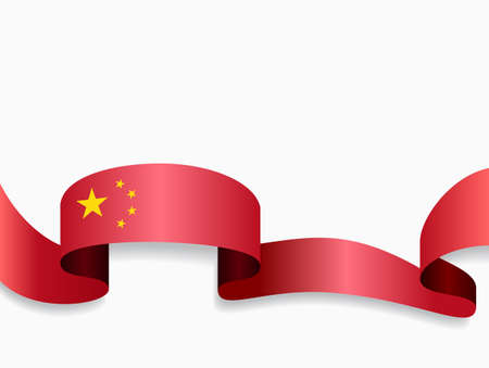 Chinese flag wavy abstract background. Vector illustration.