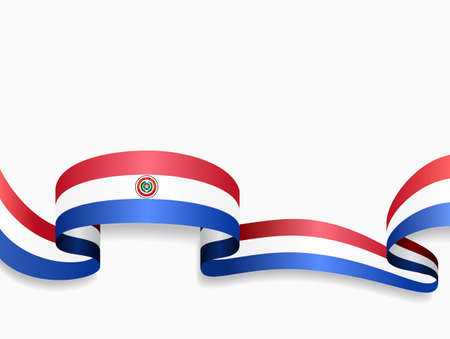 Paraguayan flag wavy abstract background. Vector illustration.