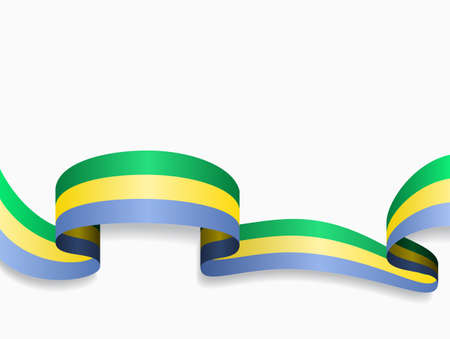 Gabon flag wavy abstract background. Vector illustration.