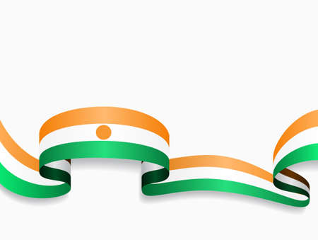 Niger flag wavy abstract background. Vector illustration.