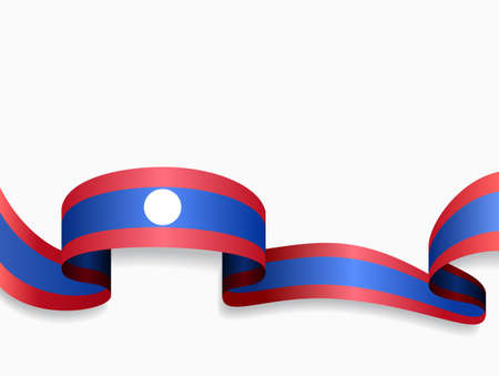 Laotian flag wavy abstract background. Vector illustration.