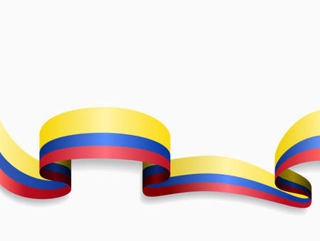 Colombian flag wavy abstract background. Vector illustration. Vecteurs