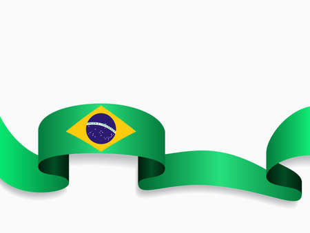 Brazilian flag wavy abstract background. Vector illustration.