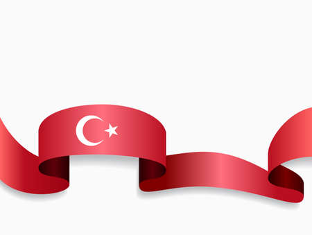 Turkish flag wavy abstract background. Vector illustration.