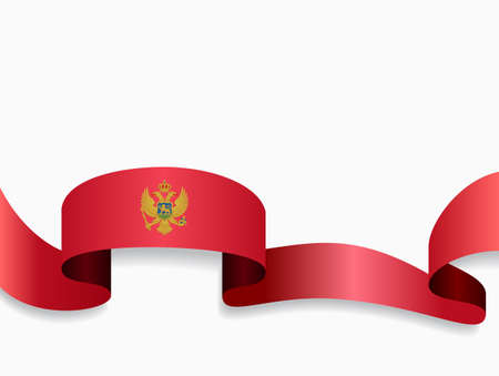 Montenegrian flag wavy abstract background. Vector illustration.