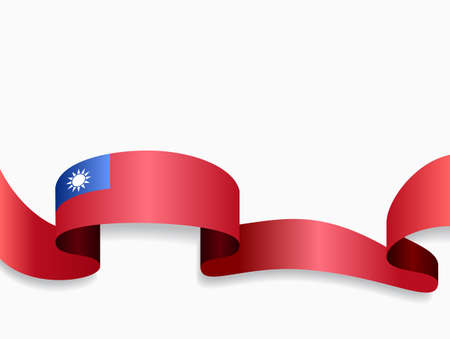 Taiwan flag wavy abstract background. Vector illustration.