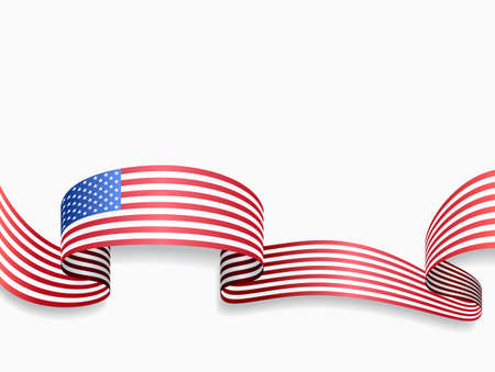 USA flag wavy abstract background. Vector illustration.