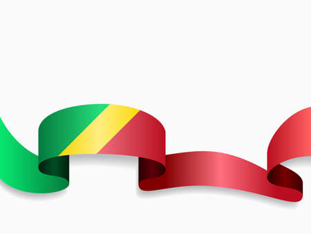 Congolese flag wavy abstract background. Vector illustration. Ilustração