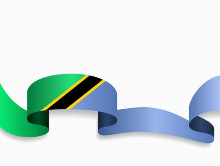 Tanzanian flag wavy abstract background. Vector illustration.