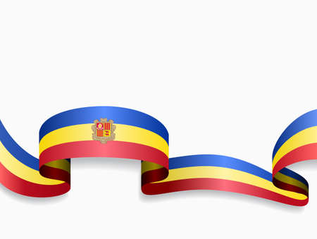 Andorran flag wavy abstract background. Vector illustration.
