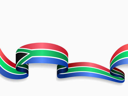 South African flag wavy abstract background. Vector illustration.