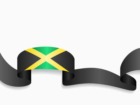 Jamaican flag wavy abstract background. Vector illustration.