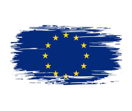 European Union flag brush grunge background. Vector illustration. Vettoriali