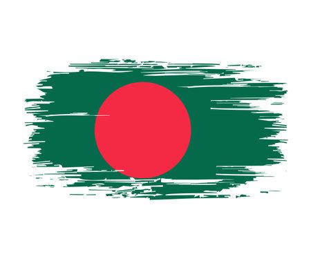 Bangladeshi flag brush grunge background. Vector illustration.