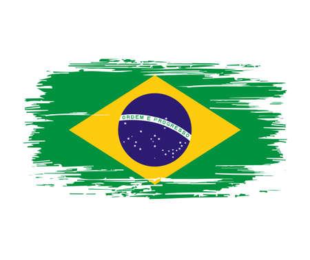 Brazilian flag brush grunge background. Vector illustration.