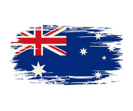 Australian flag brush grunge background. Vector illustration.
