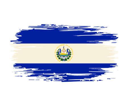 El Salvadoran flag brush grunge background. Vector illustration.