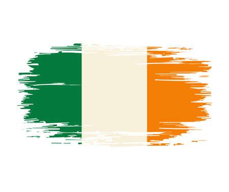 Irish flag brush grunge background. Vector illustration.