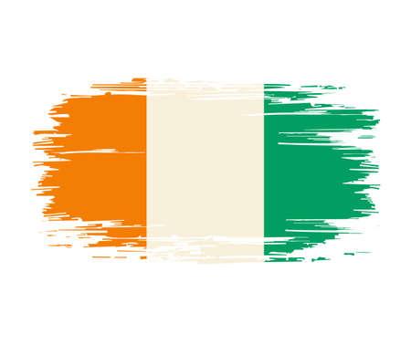 Ivorian flag brush grunge background. Vector illustration.