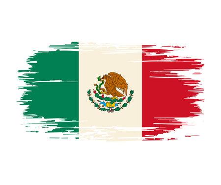 Mexican flag brush grunge background. Vector illustration.