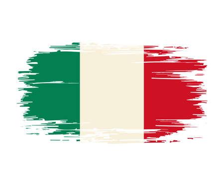 Italian flag brush grunge background. Vector illustration. Vettoriali