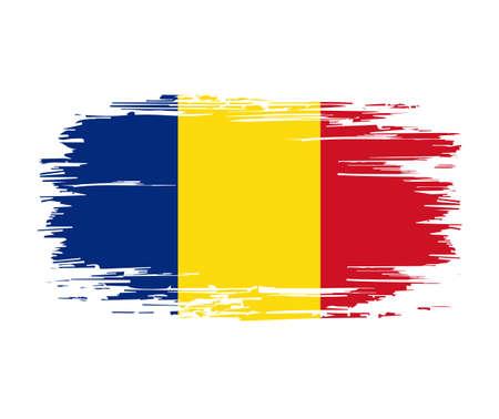 Romanian flag brush grunge background. Vector illustration. Vettoriali