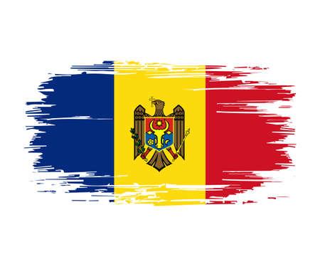 Moldovan flag brush grunge background. Vector illustration. Vettoriali