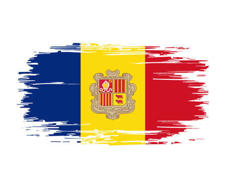 Andorran flag brush grunge background. Vector illustration. Vettoriali