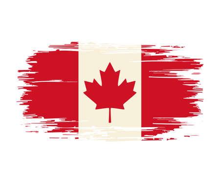 Canadian flag brush grunge background. Vector illustration. Vettoriali