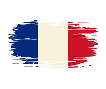 French flag brush grunge background. Vector illustration. Vettoriali