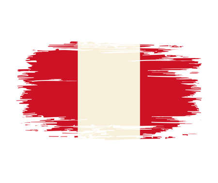 Peruvian flag brush grunge background. Vector illustration.