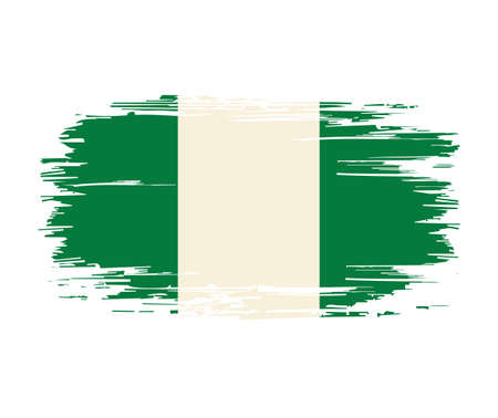 Nigerian flag brush grunge background. Vector illustration.