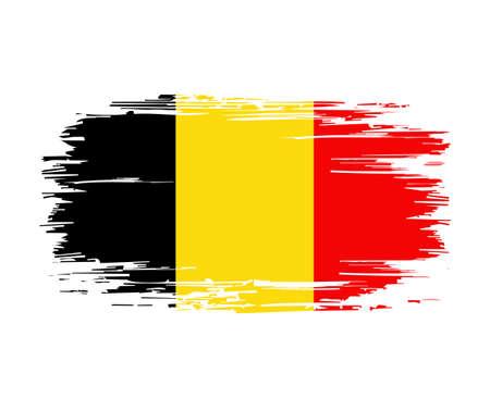 Belgian flag brush grunge background. Vector illustration. Vettoriali
