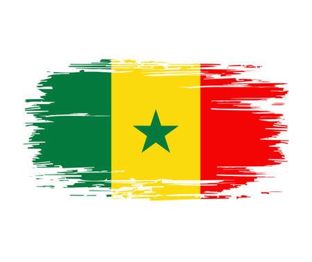 Senegalese flag brush grunge background. Vector illustration.