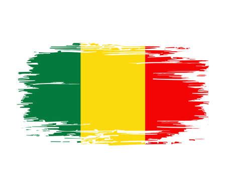 Malian flag brush grunge background. Vector illustration.