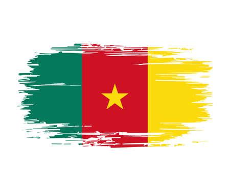Cameroon flag brush grunge background. Vector illustration.