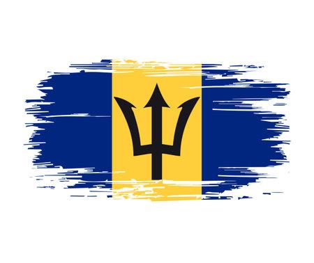 Barbados flag brush grunge background. Vector illustration.