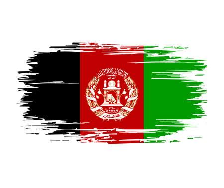 Afghani flag brush grunge background. Vector illustration.