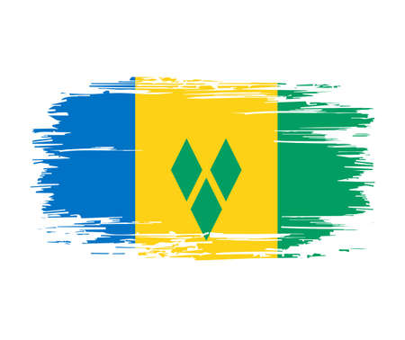 Saint Vincent and the Grenadines flag brush grunge background. Vector illustration.