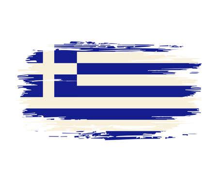Greek flag brush grunge background. Vector illustration. Vettoriali