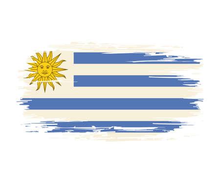 Uruguayan flag brush grunge background. Vector illustration.