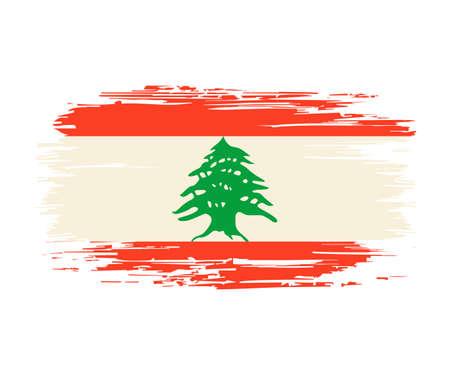 Lebanese flag brush grunge background. Vector illustration. Vettoriali