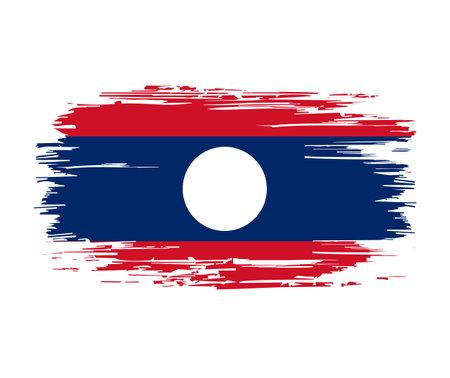 Laotian flag brush grunge background. Vector illustration. Vettoriali