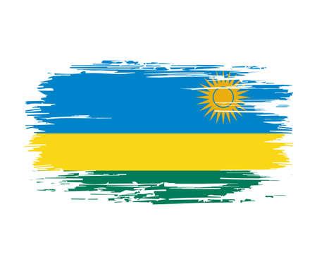 Rwandan flag brush grunge background. Vector illustration. Vettoriali
