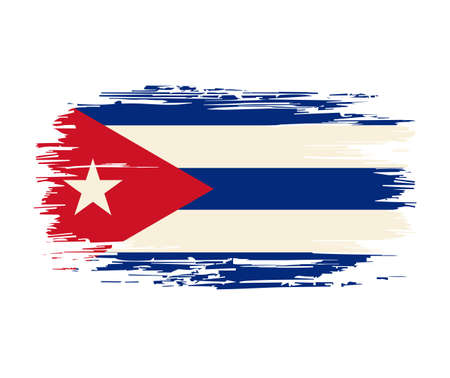 Cuban flag brush grunge background. Vector illustration.