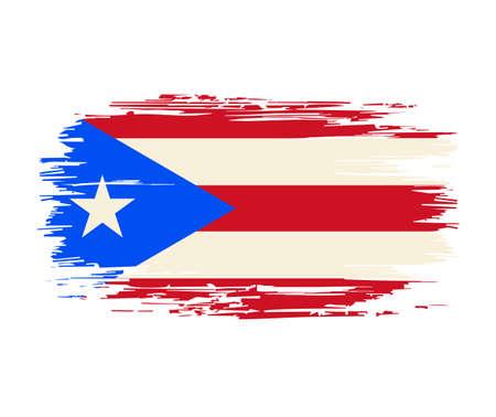 Puerto Rican flag brush stroke grunge background. Vector illustration.