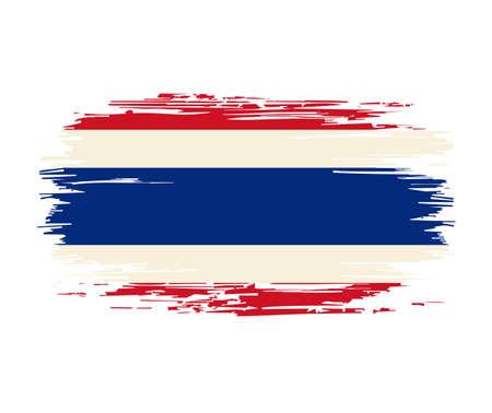 Thai flag brush grunge background. Vector illustration.