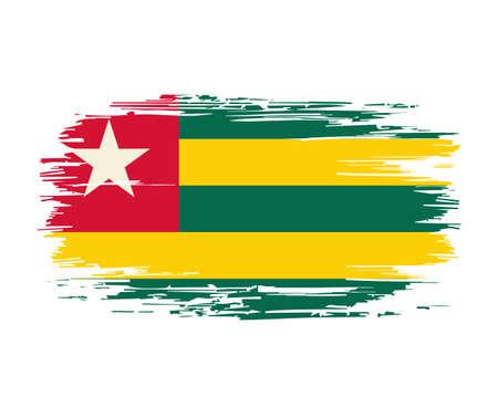Togolese flag brush grunge background. Vector illustration. Vettoriali